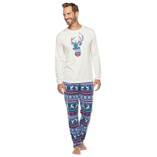 North Pole Trading Co. Fairisle Mens Long Sleeve Pant Pajama Set 2-pc.
