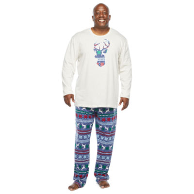 North Pole Trading Co. Fairisle Mens-Tall Long Sleeve Pant Pajama Set 2-pc.