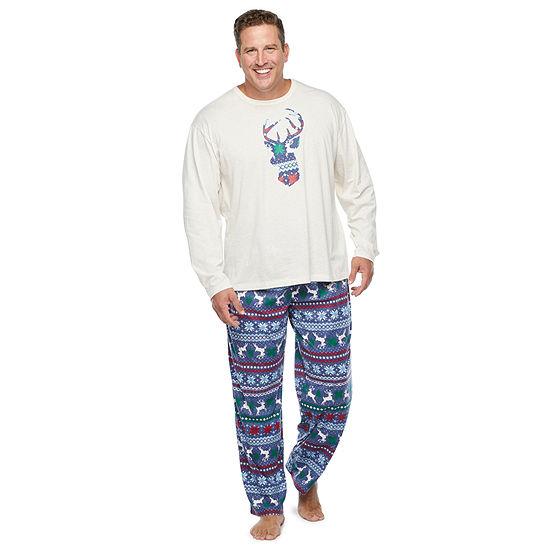 North Pole Trading Co. Fairisle Mens-Big Long Sleeve Pant Pajama Set 2-pc.