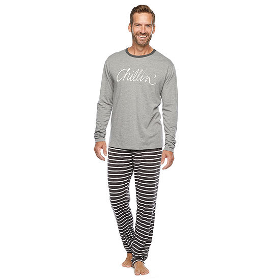 North Pole Trading Co. It'S Cold Outside Mens Long Sleeve Pant Pajama Set 2-pc.