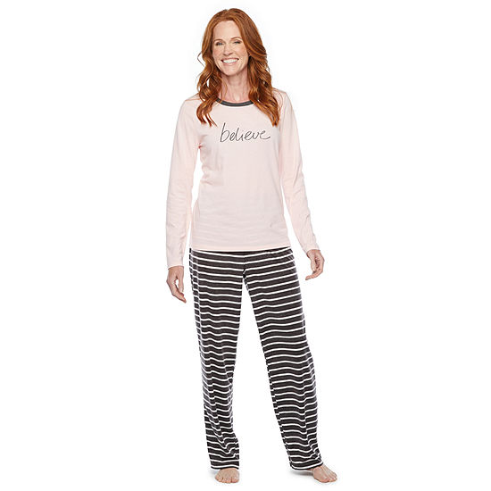 North Pole Trading Co. It's Cold Outside Long Sleeve Womens Pant Pajama Set 2-pc.
