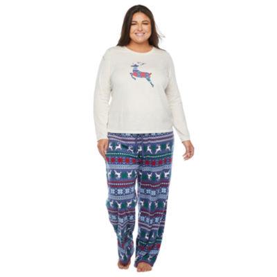 North Pole Trading Co. Fairisle Long Sleeve Womens-Plus Pant Pajama Set 2-pc.