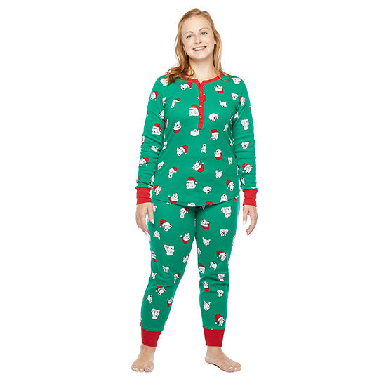 North Pole Trading Co. Happy Holidays Long Sleeve Womens Pant Pajama Set 2-pc.