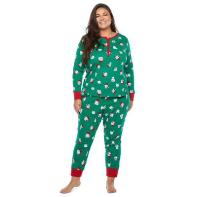 North Pole Trading Co. Happy Holidays Long Sleeve Womens-Plus Pant Pajama Set 2-pc.