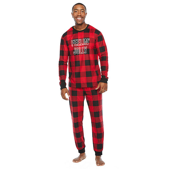 North Pole Trading Co. Buffalo Plaid Mens Long Sleeve Pant Pajama Set 2-pc.