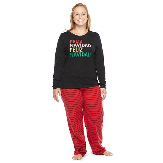 North Pole Trading Co. Feliz Navidad Long Sleeve Womens Pant Pajama Set 2-pc.
