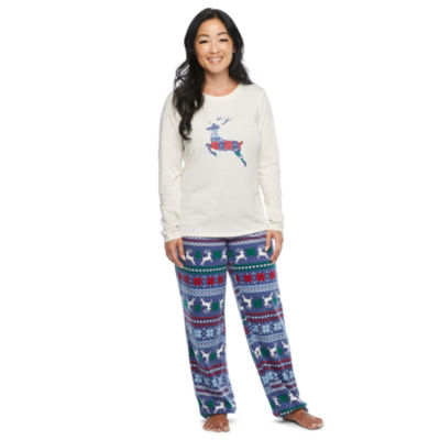 North Pole Trading Co. Fairisle Long Sleeve Womens Pant Pajama Set 2-pc.