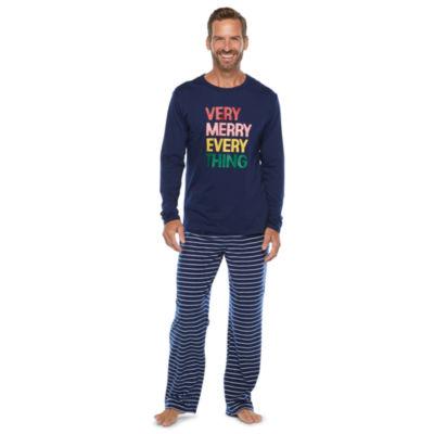 North Pole Trading Co. Very Merry Mens Long Sleeve Pant Pajama Set 2-pc.