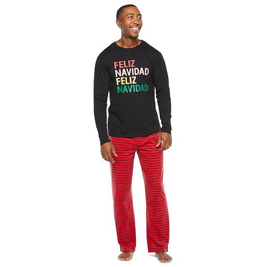 North Pole Trading Co. Feliz Navidad Mens Long Sleeve Pant Pajama Set 2-pc.