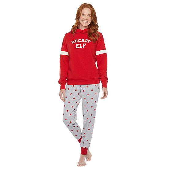 North Pole Trading Co. Tis The Varsity Season Long Sleeve Womens Pant Pajama Set 2-pc.