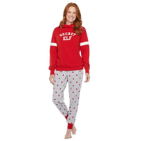 North Pole Trading Co. Tis The Varsity Season Long Sleeve Womens Pant Pajama Set 2-pc., Small , Red