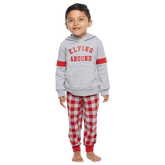 North Pole Trading Co. Tis The Varsity Season Long Sleeve Boys Pant Pajama Set 2-pc.