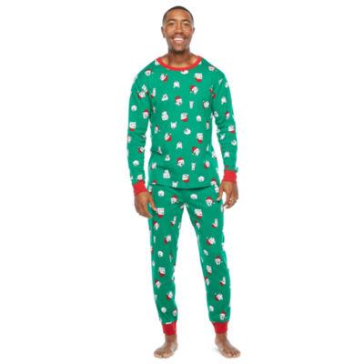 North Pole Trading Co. Happy Holidays Mens Long Sleeve Pant Pajama Set 2-pc.