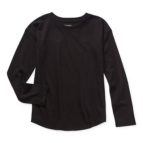 Arizona Little & Big Girls Round Neck Long Sleeve T-Shirt
