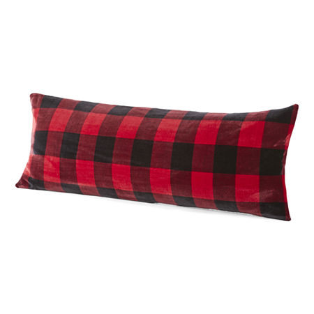 Home Expressions Faux Mink to Faux Sherpa Body Pillow Cover, One Size , Red - 73702850034