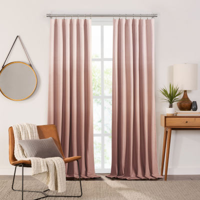 Fieldcrest Devin Flippable Ombre Cotton Chambray Energy Saving 100% Blackout Rod Pocket Single Curtain Panel