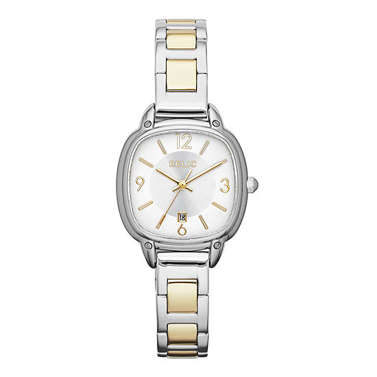 Relic By Fossil Womens Two Tone Strap Watch-Zr34244