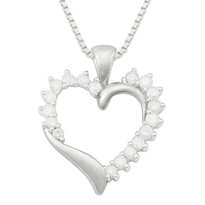 ½ CT. T.W. Diamond 10K White Gold Heart Pendant Necklace