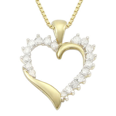 ½ CT. T.W. Diamond 10K Yellow Gold Heart Pendant Necklace
