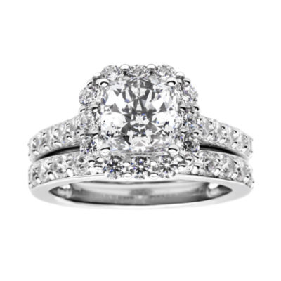 100 Facets by DiamonArt® 3.11 CT. T.W. Cubic Zirconia Halo Bridal Set