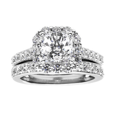 Fine Jewelry 100 Facets by DiamonArt Cubic Zirconia Bridal Ring Set FuxLr