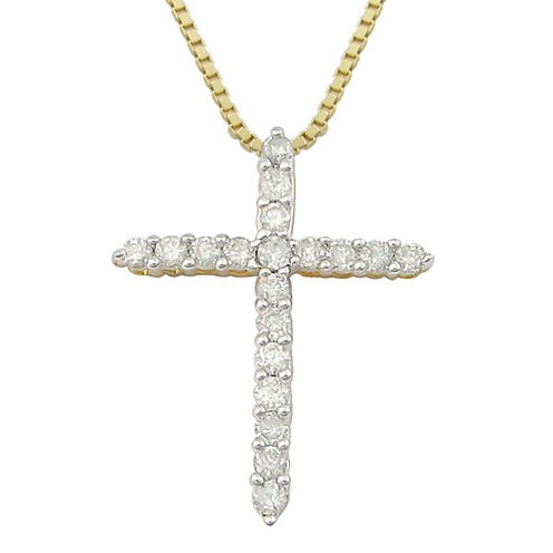 ¼ CT. T.W Diamond Cross 14K Yellow Gold-Plated Sterling Silver Pendant Necklace