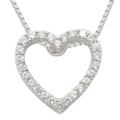 ¼ CT. T.W. Diamond Heart Sterling Silver Pendant Necklace