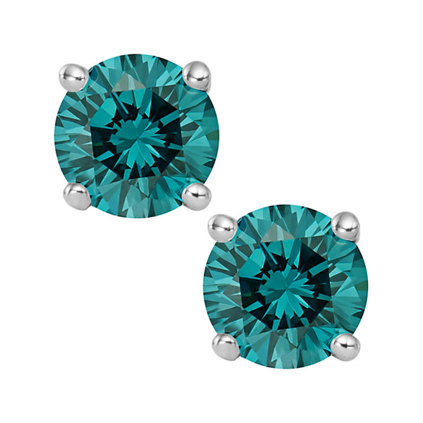 1½ CT. T.W. Color-Enhanced Blue Diamond Stud Earrings