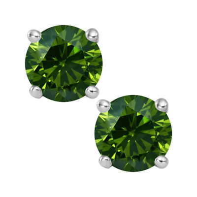 1 CT. T.W. Color-Enhanced Green Diamond Stud Earrings