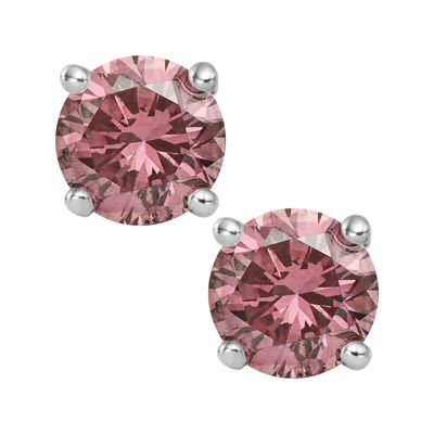 1½ CT. T.W. Color-Enhanced Pink Diamond Stud Earrings