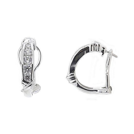 DiamonArt® Cubic Zirconia Sterling Silver X Huggie Hoop Earrings