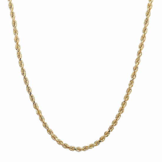 14K Yellow Gold 2mm Rope Chain Necklace