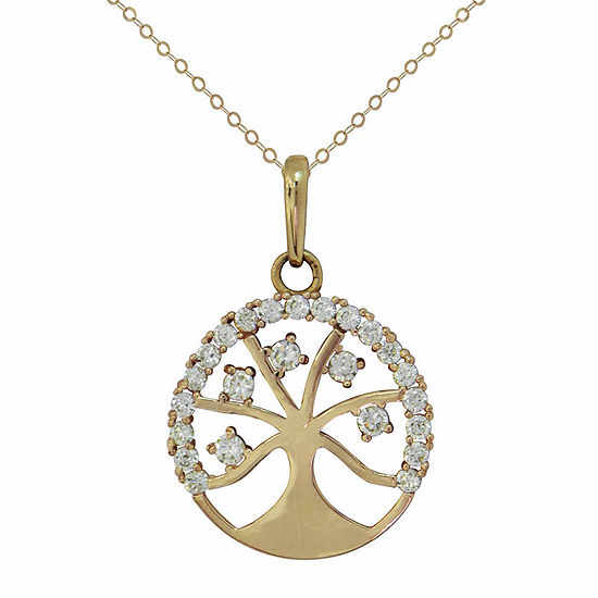 Petite Lux Womens Lab Created White Cubic Zirconia 10K Gold Pendant Necklace
