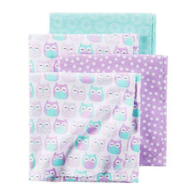 Carter's Girl Purple Owl 4pk Blankets