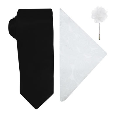 J. Ferrar Solid Tie, Pocket Square and Lapel Pin Set