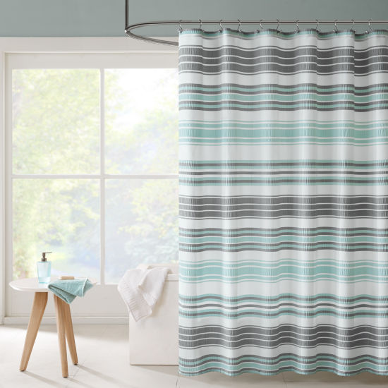 Intelligent Design Sonia Puckering Stripe Shower Curtain