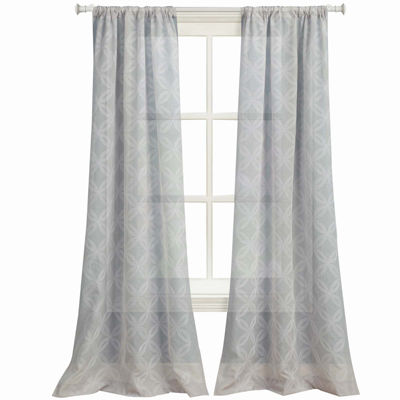 Laura Ashley® Chancery 2-Pack Sheer Embroidered Rod-Pocket Curtain Panels