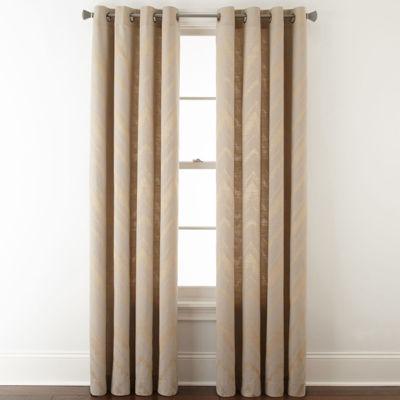 Studio™ Painterly Chevron Grommet-Top Curtain Panel