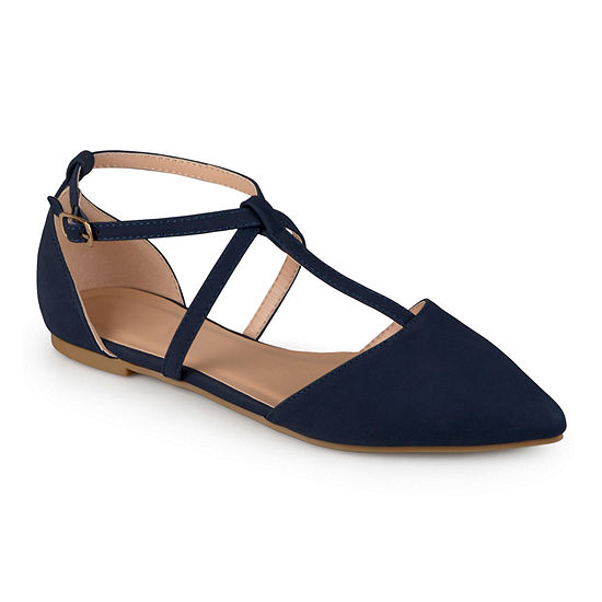 Journee Collection Womens Keiko Ankle-Strap Ballet Flats