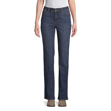 St. John's Bay Womens Mid Rise Straight Leg Jean, 2 , Blue