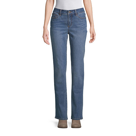 St. John's Bay Womens Mid Rise Straight Leg Jean, 6 Short , Blue