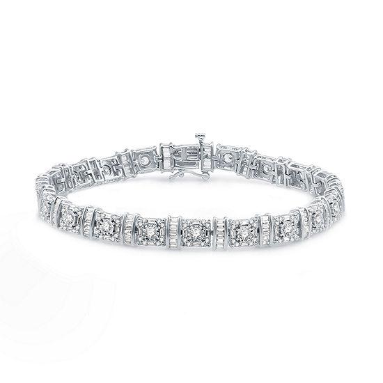 5 CT. T.W. Genuine White Diamond 10K White Gold Tennis Bracelet