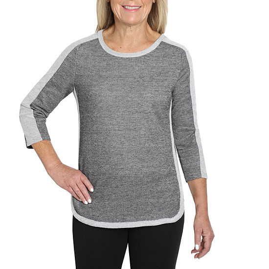 Cathy Daniels Two For One-Womens Crew Neck 3/4 Sleeve T-Shirt