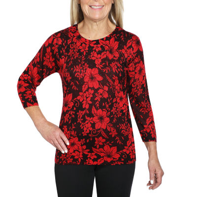 Cathy Daniels Printed Womens Crew Neck 3/4 Sleeve Floral Pullover Sweater