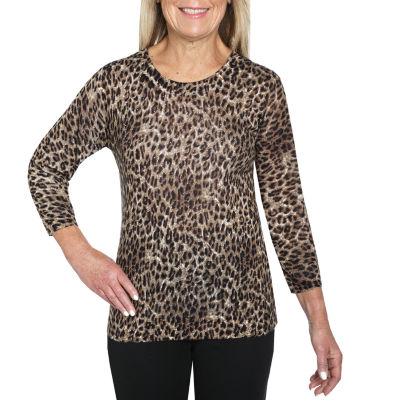 Cathy Daniels Printed Sweaters Womens Crew Neck 3/4 Sleeve Animal Pullover Sweater