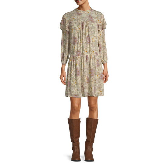 a.n.a-Tall 3/4 Sleeve Floral Shift Dress