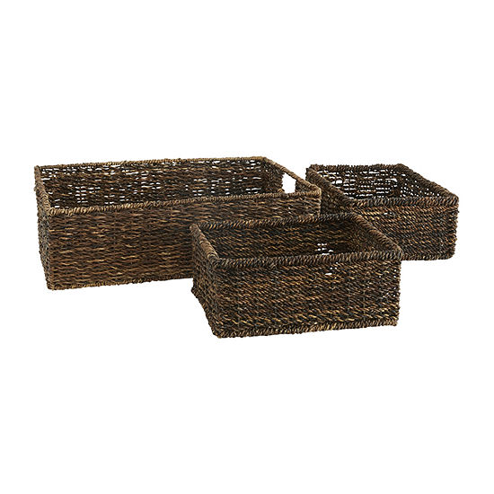 Baum Set Of 3-pc.Brown Storage Basket