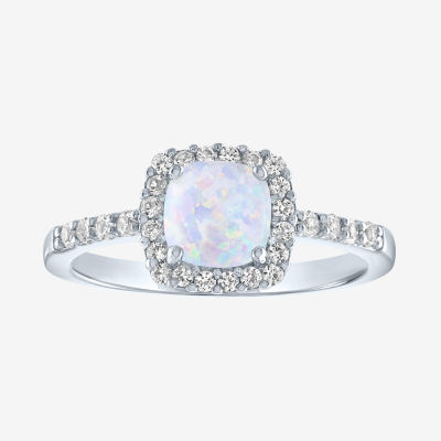 Limited Time Special! Womens Lab Created Opal Sterling Silver Cocktail Ring