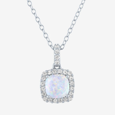 Limited Time Special! Womens Lab Created White Opal Sterling Silver Pendant Necklace