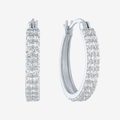 Limited Time Special! Lab Created White Sapphire Sterling Silver 18mm Hoop Earrings